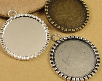 Wholesale 40 Pendant trays 25mm Round Bezel Setting Alloy Gear Frame Antique Bronze/ Antique Silver/ Silver Mountings, 144g - HA3116