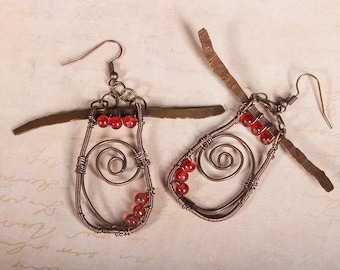 Rustic, celtic, copper wire wrapped, hammered copper earrings