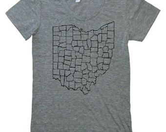 Ladies American Apparel SUPER SOFT Vintage Feel Track Tee - Ohio Counties in Black on Heather Grey