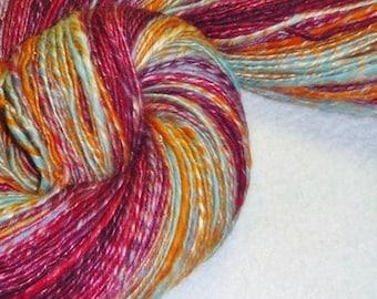 Hot Pursuit Handspun Art Yarn - 356 yards - Single Ply - Thick and Thin - Knitting - Crochet - Weaving - Mixed Media - Fiber Arts
