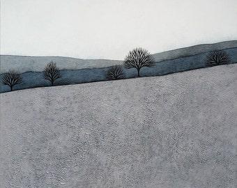 Intermission 4 - Archival 8x8 Art Print - Contemporary Minimalist Winter Landscape Painting - Grey, Blue - by Natasha Newton