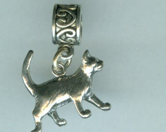 Sterling CAT Bead Charm for  All Name Brand Add a Bead Charm Bracelets - 3D