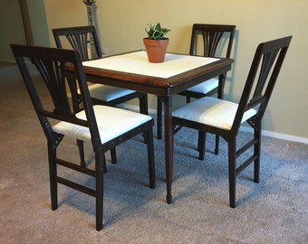 BEAUTIFUL Mid Century folding card table / chairs