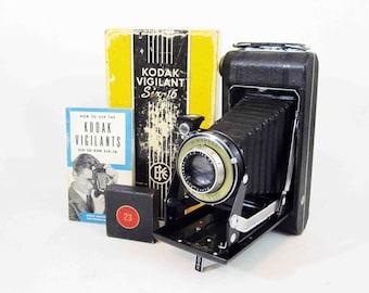 Vintage Kodak Vigilant Six-16 Camera with Original Box, Instructions, and Portrait Lens. Circa 1930's.