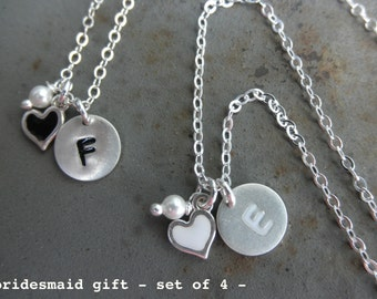 Enamel Initial charm necklace with heart and tiny pearl - Bridesmaid gift set of 4