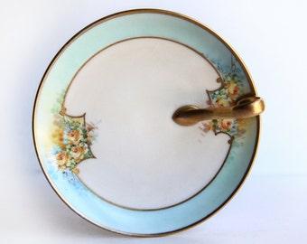 P. Kawalkowski Hand Painted Lemon Plate ~ Yellow Roses, Turquoise Blue, Gold Trim / Handle ~ Early 20th Century China ~ Oakland California