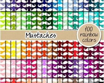 SALE 100 mustache digital paper hipster digital paper mustache pattern mustache clipart rainbow digital 12x12 pastel neutral bright dark