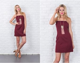 Vintage 70s 80s Burgundy Red Mini Dress Sheath Spaghetti Strap XS 7446 vintage dress 70s dress red dress xs dress sheath dress