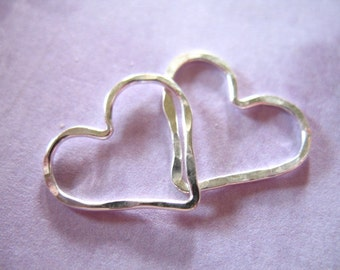 Sterling Silver or Gold Fill HEART Charms Pendants Links Connectors, Hammered / 1-10 pcs, 15.5x14 mm / love bridal bridesmaids gifts hht