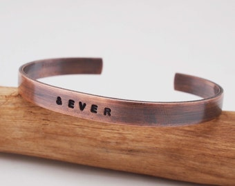 Copper Anniversary Bracelet / Copper Cuff / and Ever / Oxidized Copper / 7 Year Anniversary Gift