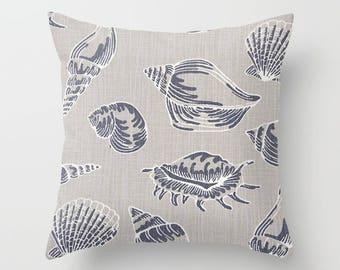 Nautical Pillow cover Seashell Pillow Cover Decorative Pillow Cover Beachy Pillow Navy Pillow
