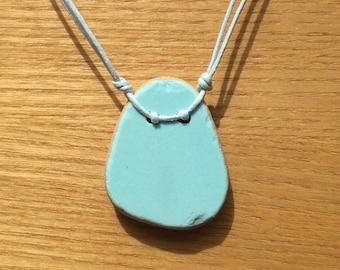 Single Aqua Pastel Sea Pottery Pendant Necklace