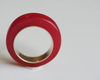 Sterling silver and raspberry red resin ring