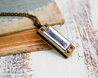 Harmonica Necklace, Silver Harmonica, Harmonica Pendant, Song Music, Retro Rocker, Musical Instrument, Hohner Toy, Guy Gift, Music Lover