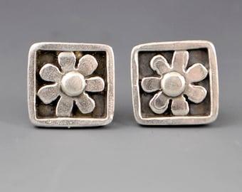 Kindness- Framed and Squared Flower Stud Post Earrings