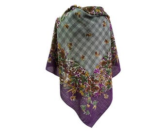Authentic! Christian Dior floral 100% wool lightweight winter scarf in purple green.Vintage women's oversize square shawl.LaZLeP P711A127
