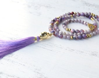 Long Purple Tassel Necklace With Buddha Head // Handmade Beaded Necklace // Lavender Stone Necklace With Brass Beads // Boho Rock Necklace