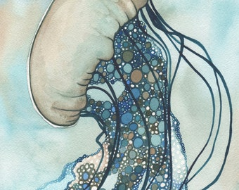 Sea Nettle Jellyfish 11 x 14 print of detailed watercolour artwork in whimsical earth tones and soft turquoise blues, marine ocean sea surf