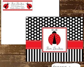 Ladybug Notecards and Matching Return Address Labels