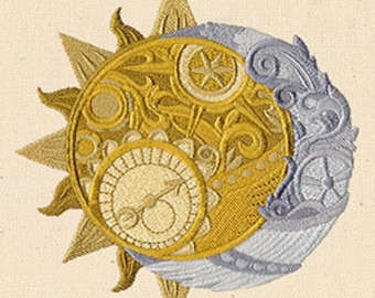 Steampunk Clock Work Sun and Moon Embroidered Flour Sack Hand/Dish Towel
