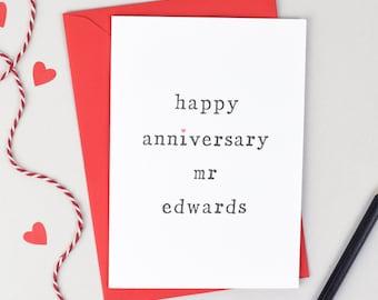 Anniversary Card, Husband Anniversary Card, Wife Anniversary Card, Personalised Anniversary Card, Anniversary Mr Card, Anniversary Mrs Card