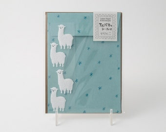 Midori alpaca stationery set with letter paper, four patterned envelopes, and four envelope seals