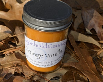 Orange Vanilla 8oz Hand Poured Candle, Soy-Paraffin, Triple Scented