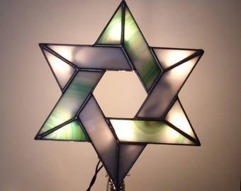 Tree Topper with Light Clips, Lighted Interfaith Tree Topper, Stained Glass Jewish Star, Six Point Star for Blended Families #8