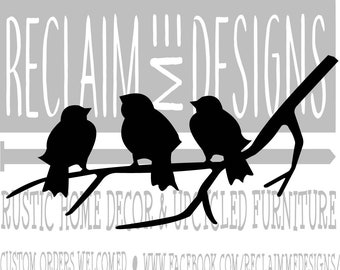 Three little birds on a branch silhouette SVG,PNG, and JPEG file