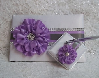 Wedding Guest Book and Pen Set, White Satin Wedding Guest Book with Lilac Flower, Grey Trim and Rhinestone Mesh Trim & Pen Set