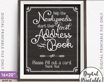 """Address Book Wedding Sign, Ask Guests for their Address, Create Address Book Sign, Instant Download 8x10/16x20"""" Chalkboard Style Printable"""