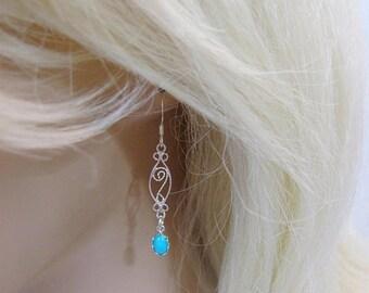 Sleeping Beauty Turquoise Earrings, Sterling Silver, Arizona Turquoise Gemstone, Turquoise Jewelry, December Birthstone, Blue Bride Earrings