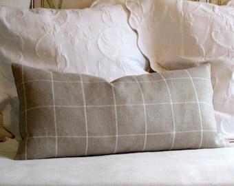LINEN plaid window pane  designer lumbar bolster pillow 13x26 with insert