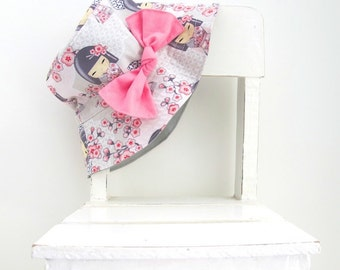 Sun hat, Bucket hat for girls in sweet Japanese geisha girl and cute bow for baby or child