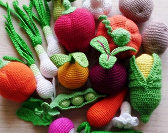 Knitted vegetables (15 pcs), food, eco-friendly toy, pretend play toy,play food,teether teeth,teething toy,kitchen decoration,