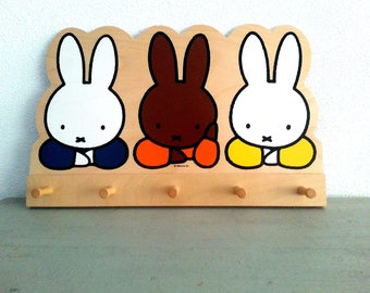 Vintage, Miffy,wooden, coat rack with five hooks.