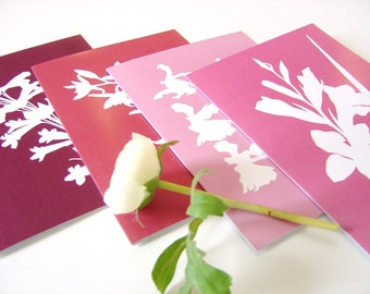 Greetings Cards Pink Purple Botanical Papercut Designs - Set of Four A5