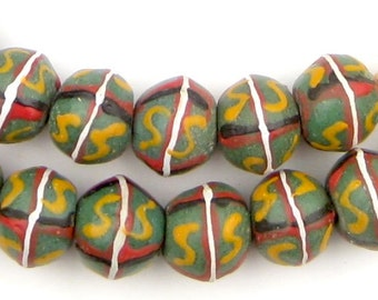 48 Green King Beads - African Trade Beads - Glass Trade Beads - African Glass Beads - Bicone Beads - Made in Ghana ** (KNG-BIC-GRN-102)