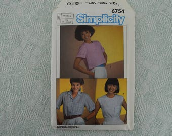 Simplicity Sewing Pattern 6754 shirt blouse from 1984 size 10 12 14