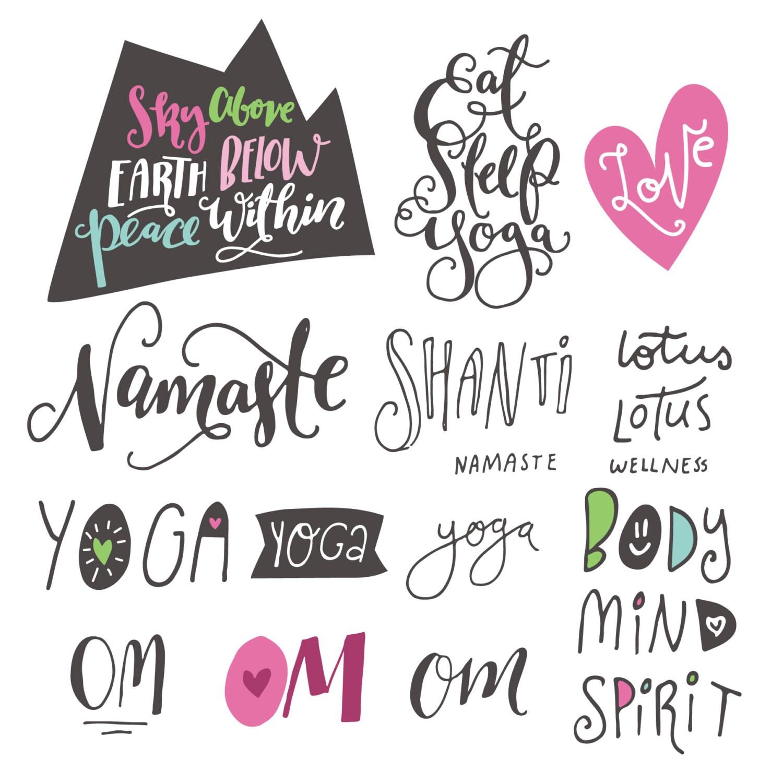 Yoga phrases lotus flowers zen clipart teacher body mind zoom izmirmasajfo Images