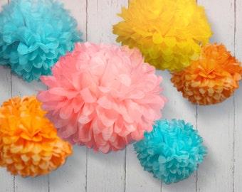 Tissue Paper Pom Poms - Set of 20 - Weddings//Parties Decor//Birthday's//Receptions