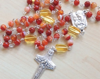 Red Striped Agate Rosary, Handmade Rosary, Five Decade, Traditional Rosary, Catholic, Gift for Him, Gift for Her