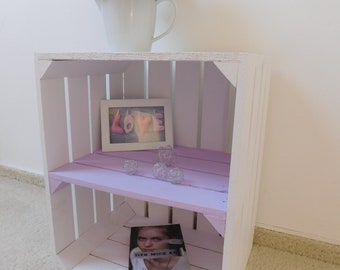 """Decorative white wooden crates with intermediate floor (PASTELLF) """"Shabby Chic"""""""
