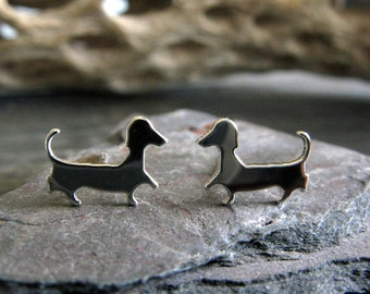 Dachshund post earrings. Wiener dog silhouette jewelry. Sterling silver, 14k gold filled or solid gold studs. Doxie hound lover. Sausage