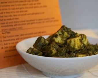Spinach Tofu/Paneer Curry Spice Blend, Recipe and Shopping List