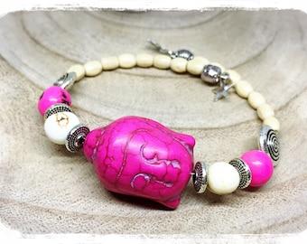Pink adjustable Buddha meditation bracelet