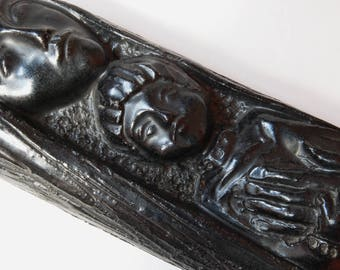 Mid-century Belgium Madonna and Child black wall plaque.