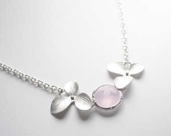 Pastel Pink Silver Framed Glass Flower Necklace