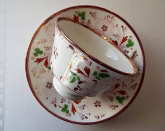 Pink Lustreware Teacup. Victorian Antique Tea Cup and Saucer, Entirely Hand Painted. Rare Lovely English Teacup And Saucer With Pink Flowers