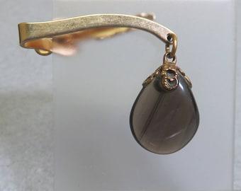 1960s Apache Tears Stone Tie Clip, Vintage Stone Tie Clasp